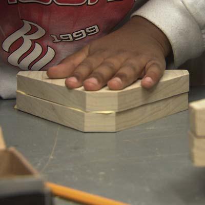 wood glue, stilts, nailing together