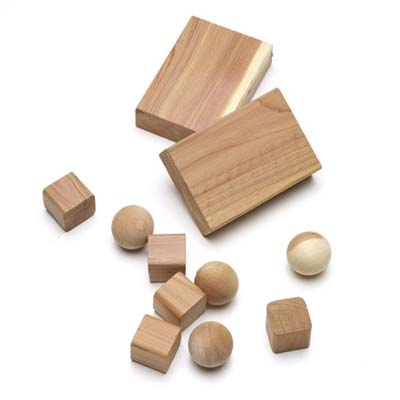 small three-dimensional shapes made of cedar to use for storage