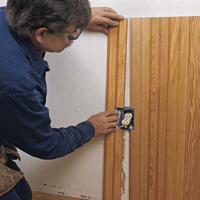 cutting around electrical outlets during wainscoting