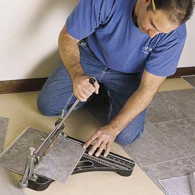 Cut Tiles To Size How To Lay A Vinyl Tile Floor This Old House