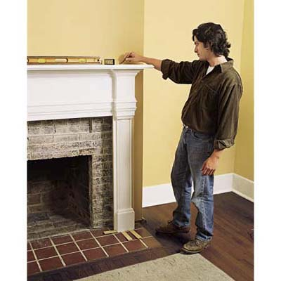 Dry-fitting the mantel