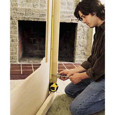 Positioning the mantel cleats.
