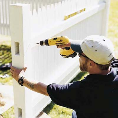 attaching the panels of a picket fence to its post