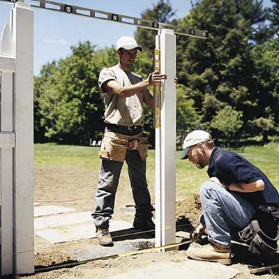 setting the gate posts with level