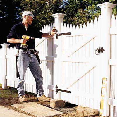 hang the gate how to install a picket fence this old house. Black Bedroom Furniture Sets. Home Design Ideas
