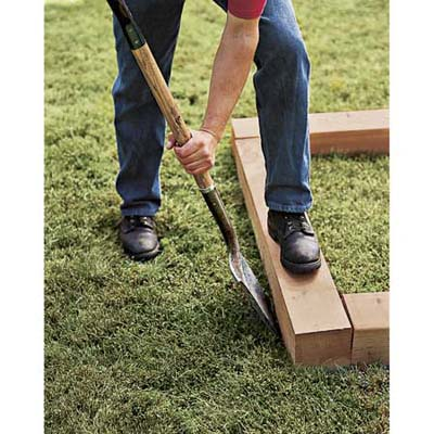 mark the bed 39 s outline how to build a raised planting. Black Bedroom Furniture Sets. Home Design Ideas
