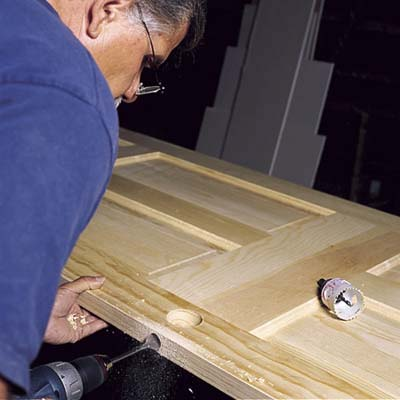 drilling for the lockset of a new door