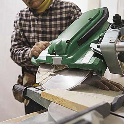 cutting baseboard with a miter saw