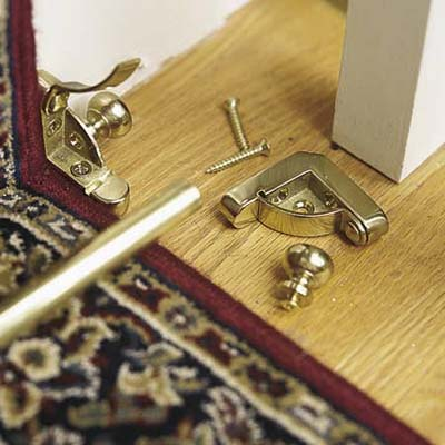Installing carpet runner rods