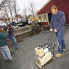 Roger Cook power tampering the patio base