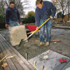 Laying the stones for a patio