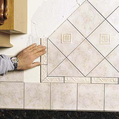 Set the decorative tiles