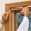 marking the screw holes for a window shade