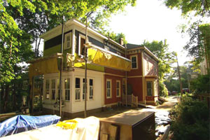 exterior view of renovations underway at the Arlington Italianate