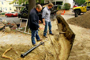 Richard Trethewey installs a new water line to the house