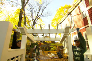 installing an arbor to give some separation to the back yard