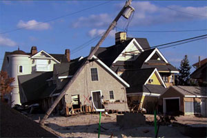 row of houses damaged by hurricane sandy for this old house tv jersey shore rebuilds project