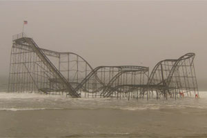 the iconic, partially submerged rollercoaster in Seaside Heights, NJ