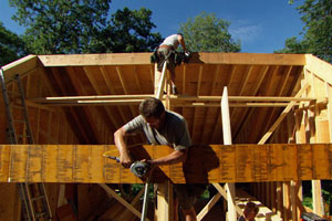 roof framing at the Lexington Colonial
