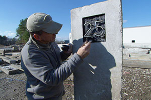 Gavin Johnston selecting and fabricating antique granite for the front walk