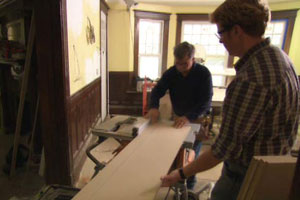 Kevin O'Connor and Tom Silva make wainscoting at the Newton house project