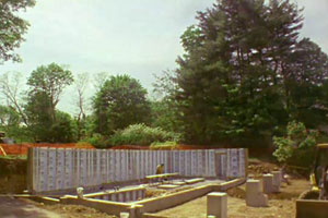 new foundation and basement framing at the Weston house project