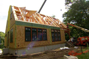 timber frame construction at the Weston house project