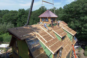 roof construction at the Weston house project
