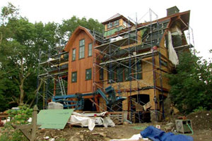 exterior construction at the Weston house project