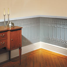 a finished Lincrusta wainscoting install