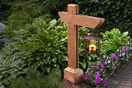 a finished garden pathway lamppost