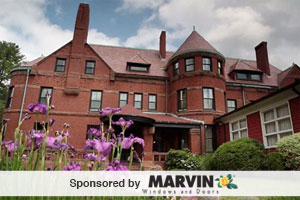 historic, brick mansion from the stevens estate with upgraded marvin windows throughout