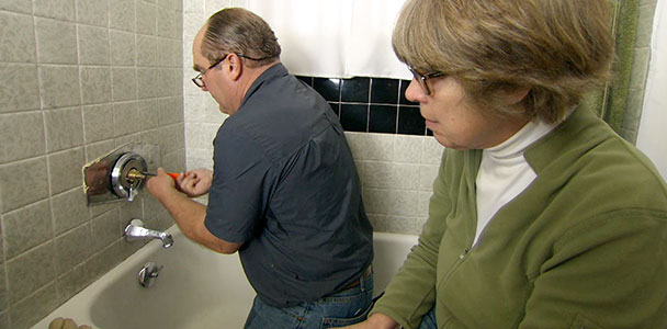 Richard Trethewey replaces a three-handle shower valve with a single-handle anti-scald valve