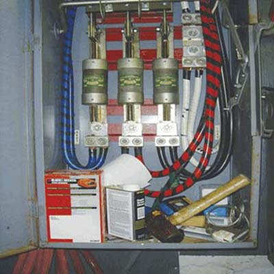 nails, hammer and solvents in the electric box