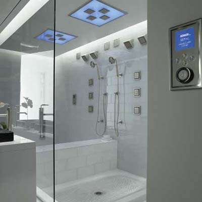High-tech Kohler shower with multiple functions