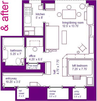 after floor plan of studio apartment