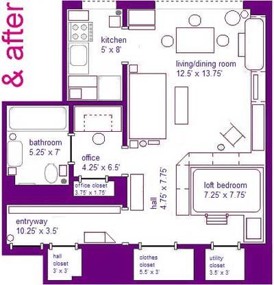 after floor plan of studio apartment