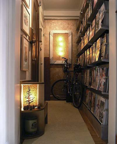magazine rack in hallway of studio apartment