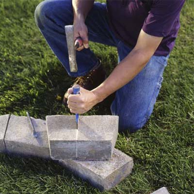 lay out the stone blocks for fire pit