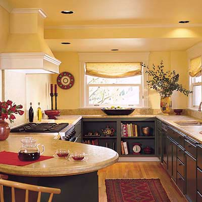 yellow kitchen with recessed lighting fixtures