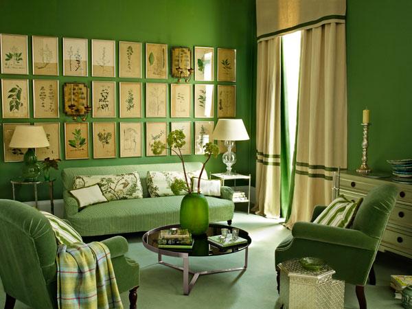 Phòng khách màu xanh lá cây Tạo phòng khách màu xanh lá cây